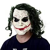 TINGSHOP Latex Joker Clown Maske, Dark Knight Adult Joker Latex Maske Mit Haaren Gruseliges Kostüm Gruselige Horror Clown Maske Latex Vollkopf Gruselige Joker Maske Cosplay Latex Party,...