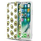 Pnakqil Funda para iPhone XS/X, Silicona 3D Transparente con Dibujos Diseño Slim TPU Antigolpes Ultrafina de Protector Piel Case Cover Cárcasa Fundas para Movil para iPhoneXs, Love Avocado