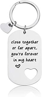 Going Away Gifts Long Distance Gift for Boyfriend Girlfriend Couples Keychains Close Together or Far Apart You are Forever in My Heart Best Friendship Key Ring
