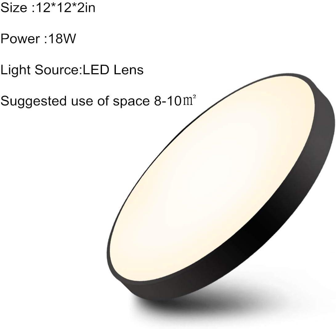 Noir Lumi/ère /Éclairage Luminaire pour Cuisine Chambre Salon Couloir 3000K Blanc Chaud /Ø30*5CM En Lampe de Plafond Rond Plafonnier LED 18W