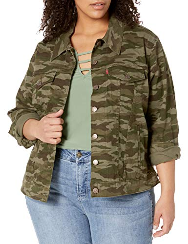Womens Plus Size Camouflage Trucker Jacket