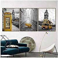 北欧のポスターと版画黄色の電話ブースバス壁ArtCanvas絵画ロンドンペア壁の写真リビングルーム50x70cmx3なしフレーム