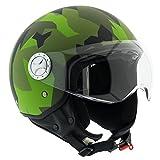 Bricok Casco Moto Scooter Motorino Moto Cross, Omologato ECE R22-05, Casco in ABS e Policarbonato con Visiera Antigraffio, (Mimetic Green, S)