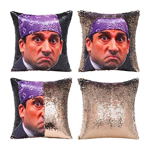 """Tiaronics Magic Reversible Sequin Pillow Cases Mermaid Pillow Cases Throw Pillow Covers Cushion CoverDecorative Pillowcase 4040cm(1616"""") (Prison Mike/Champagnee2)"""