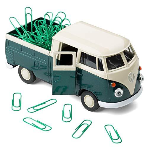 Magnetischer Büroklammerhalter kompatibel mit VW Bus Bulli T1 Transporter Pritschenwagen – Büroklammerspender inkl. Büroklammern – Mobile Office (grün)