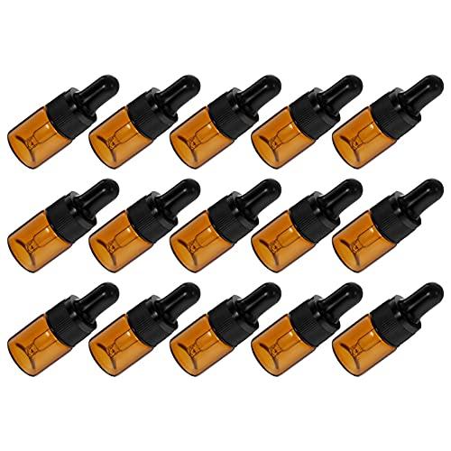 HEALLILY 15 Unidades de Botellas de Aceite Esencial Redondo Boston Botella de Ámbar Recargable Vacía con Gotero de Vidrio para Fragancia Líquida de Aromaterapia Lote 5Ml