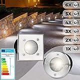 Bodeneinbaustrahler Rund 6er Set | Außen (Ø/H 10x12cm), LED geeignet / GU10 / IP65-67, aus Edelstahl | Gestalten- und Setauswahl | Bodenstrahler, Gartenstrahler, Bodenleuchte