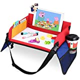 Snack & Play Travel Tray - Child Play Lap Tray with Dry Erasable Top + 6 Mark Pens with Strong Buckles Mesh Pockets Organiser Bag Car Activity Trays Toy Organiser for Auto Stroller Pushchair Sofa
