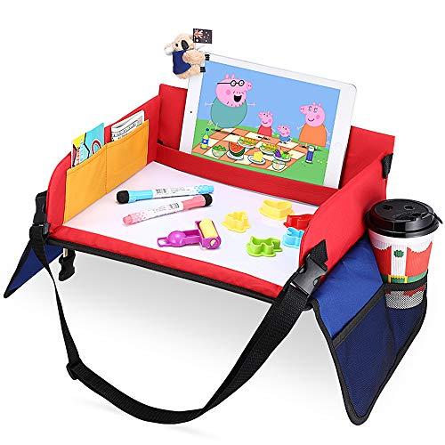 Kinder Knietablett Reisetisch-Tablett für Kinder Play with Löschbar Zeichenbrett & 6 Colored Pencils für Spiel und Esstisch Spieltisch Autositz Tisch für Buggys, Kinderwagen, Auto, kfz, Flugzeug, Bahn