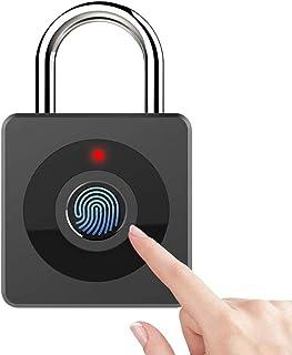 Fingerprint Padlock, Portable Security Keyless Anti-Theft Digital Lock, One Touch Open Support USB Charging IP65 Waterproo...