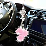 YIDEXIN Bling Car Mirror Accessories for Women £¦ Men Bling Love Heart and Pink Plush ball Bling Rinestones Diamond Car Accessories Crystal Car Rear View Mirror Charms,Lucky Hanging Accessories