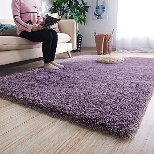 Noahas Luxury Fluffy Rugs Ultra Soft Shag Rug for Bedroom Living Room Kids Room, Child and Girls Shaggy Furry Floor Carpet Nursery Rugs Modern Indoor Home Decorative, 4 ft x 5.3 ft, Taro Purple
