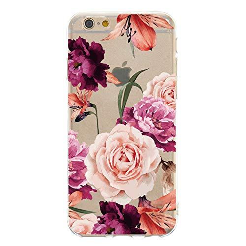 CrazyLemon Hülle für iPhone 6S Plus, Hülle für iPhone 6 Plus, Silikon Dünn Case 3D Kreativ Geprägt Lack Printed Muster Transparent Handyhülle Soft - Lila Blume