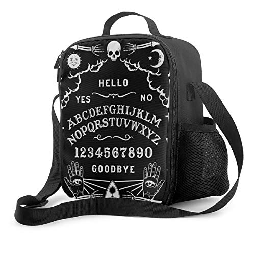 NA-1 Ouija Board Horror Ghosts Death Insulated Reusable Lunch Bag Food Container Portable Lunch Pouch Adjustable Strap for School Work Office Travel Fishing
