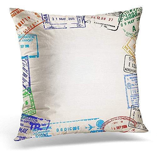Zjipeung Funda de almohada decorativa Malasia, viaje con diferentes sellos de pasaporte Tailandia, funda de almohada cuadrada, decoración del hogar, 45 x 45 cm