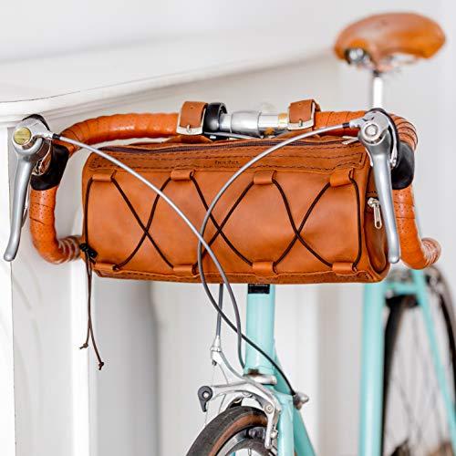 hecho. Fahrradtasche Vincente (Large) - Handgefertigt, echtes Leder, Fair-Trade - Lenkertasche für Retro Rennräder, Stadtrad, Tourenrad, Gravelbike, UVM. (Lenker, Gepäcktasche, Bikepacking)