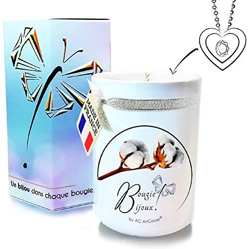 AG ArtGosse - Vela Little 170 ml Flor de algodón con Cristal de Swarovski. Perfume de Grasa y Mecha de Madera. La Joya Oculta se desvela después de 30 Minutos. Caja de Regalo Colgante.