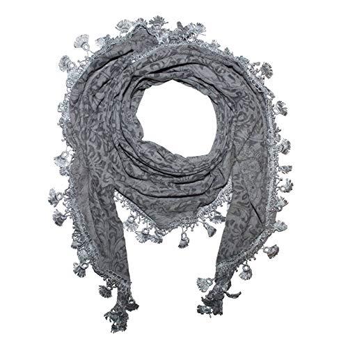 Superfreak® Dreiecktuch mit Blumen Muster ° Tuch ° Schal ° Halstuch ° Farbe: grau Blumenmuster
