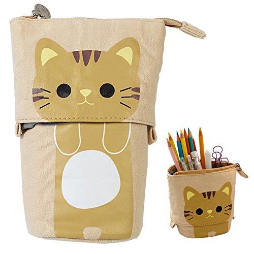 Telescopic Pencil Pouch Standing Pen Holder Cute Pencil Bags Stand Up Pen Case Cartoon Pencil/Pens Storage Box Canvas+PU Stationery Organizer Makeup Bag with Zipper Closure (Khaki)