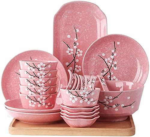 Juego de platos, Combinación de vajillas Conjunto de vajillas de porcelana de 23 piezas para familias: diseño de plum de plum pintado a mano puede acomodar a 4-6 personas que usan vajillas para comida