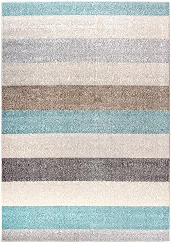 Designer Moderner Teppich Marine Stripes Streifen blau grau beige maritim in 4 Größen ideal für Kinderzimmer Wohnzimmer jugendzimmer oder Schlafzimmer (120 x 170 cm)