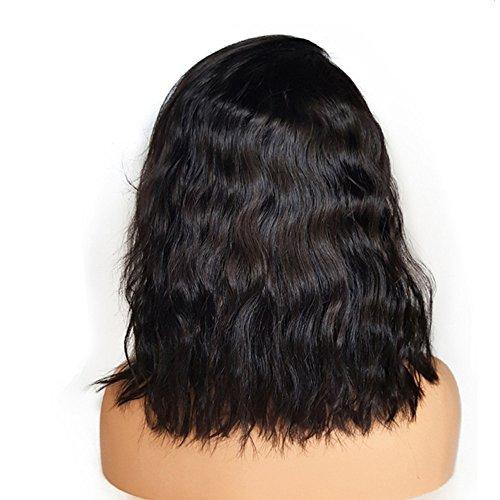 Battnot Haarteil für Damen Schwarzes Brasilianische Spitze Vordere Volle Perücke Bob Wave Natürliche Aussehende Lange Party, Frauen Mädchen Afro Weiche Haarperücken (14 Zoll, Schwarz)