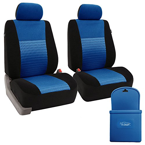 FH-FB060102 Trendy Elegance Car Seat Cover, s, Airbag & Split Ready w. FH3022 Silicone Steering Wheel Cover, Blue/Black Color - Fit Most Car, Truck, SUV, or Van