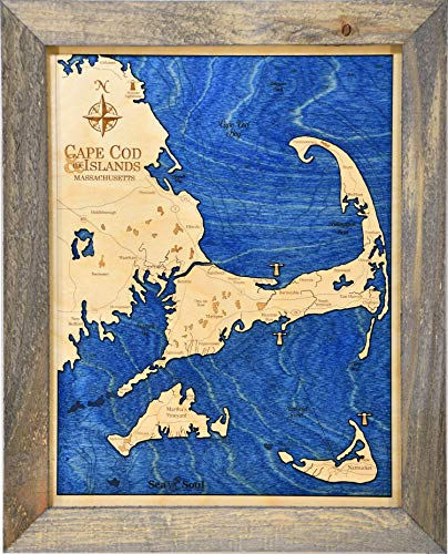 "Sea & Soul Cape Cod Nautical Chart Art, Made in the USA, 3D Wood Map, 3-D Nautical Wood Chart, Wood Wall Art 13""x16"", Lake Art, Nautical Gift, Lake House Decor (Rustic Pine/Deep Blue)"