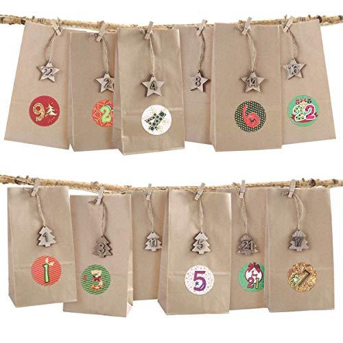 SAGESSE DIY Calendario de Adviento para llenado,24 Bolsas de Papel+24 Estrellas de Madera con 1-24 números + 24 Clips + Adhesivo navideño para la elaboración y decoración navideña