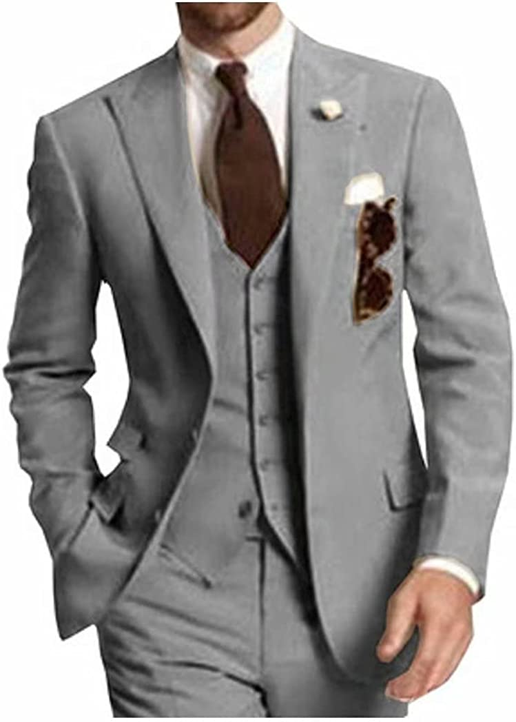 Men's 3 Piece Slim Fit Business Jacket Blazer Vest Pants Groom Suits for Wedding Juniors Prom Party Tuxedo