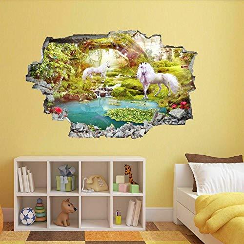 Pegatinas de pared Pegatinas de Pegaso, calcomanía mural, arte de pared, castillo de cuento de hadas, póster para niños, papel tapiz- 80×120cm