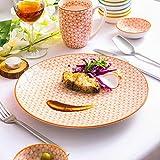 Vancasso Natsuki 48-teilig Porzellan Geschhirrset, mit je 8 Kaffeebecher 380 ml, Müslischalen Ø 15,2 cm, Dessertteller Ø 21,5 cm, Speiseteller Ø 27 cm, Suppenteller Ø 21,5 cm und Dipschälchen - 5