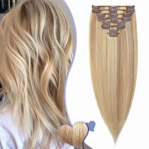 Elailite Haarverlängerung Echthaar Clip in Extensions Haarteil für Komplette Haare 8 Teilig Set 18 Clips Glatt Full Head Human Hair 8