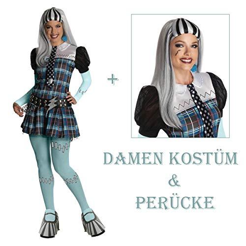 Satief Damen Frankie Stein Kostüm & Perücke - Monster High Komplett-Set (32/34 + Perücke)