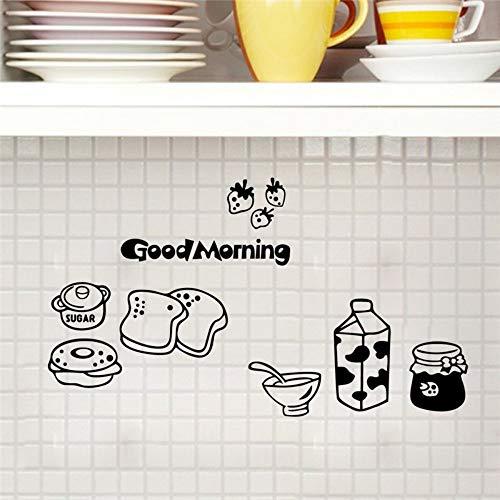 QTZKH decoratieve stickers, wandstickers, vervangbaar, voor de keuken, koelkast, voor brood met melk, warm, decoratie, wandsticker, voor keuken