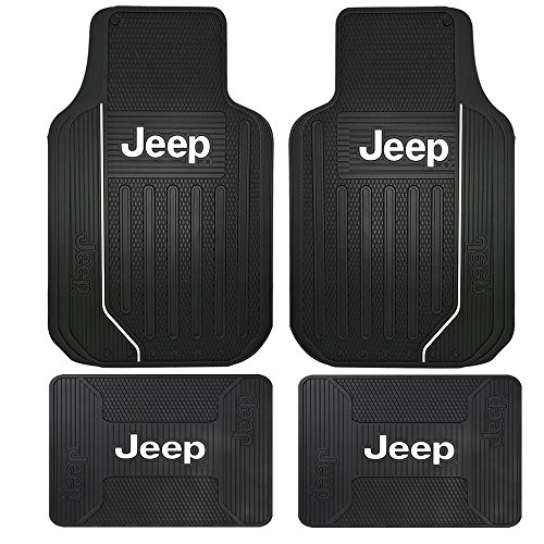 U.A.A. INC. 4PC Black Elite Heavy Duty Rubber Front Rear Floor Mats for Jeep