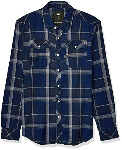 G-STAR RAW Herren Landoh Shirt long sleeve Smoking Hemd, Mehrfarbig (Black Indigo/Lt Iron Check 7217), X-Small