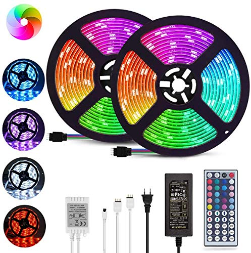 LED Strip Lights 32.8ft, Color Changing LED Light Strips SMD 5050 Waterproof LED Neon Lights with 44-Key IR Remote, 12V Flexible RGB LED Strip Lights for Bedroom TV, Party and Home DIY Decoration