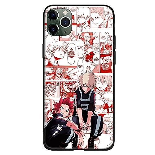 Kiribaku Katsuki Bakugou y Eijiro Kirishima BNHA Anime Carcasa compatible con iPhone Japonés Manga Teléfono Carcasa de Vidrio Templado Brillante iPhone 11 Pro)