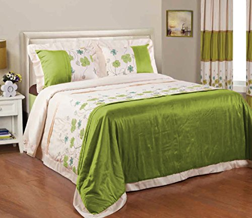 BEDnLINENS 5 Piece Shara Beautiful Embroidered Floral Light Weight Green Color Comforter/Bedspread with Matching Drapes Queen Size (Shara-5PC)