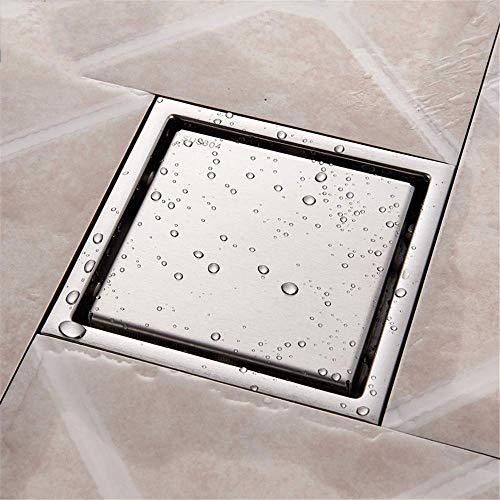 HHJJ Nickel gebürstet Bodeneinläufe Edelstahl-Quadrat-Dusche Bodenablauf Fliesen Legen Rinnenablauf for Badezimmer-Küche-Abfall-Gitter 0827