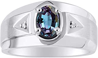 Classic 2 Diamond and Simulated Alexandrite Ring Set in Sterling Silver .925