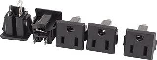 uxcell 5 Pcs AC 125V US Outlet Panel Mount Power Rewiring Socket Black