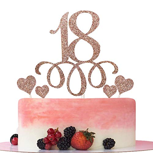 """Tortendeko 18 Rosegold set """"18"""" Cupcake Toppers und Herze Toppers Kuchendeko Rosegold 18.Geburtstag Topper 18 Jahrestag Kuchendekoration"""