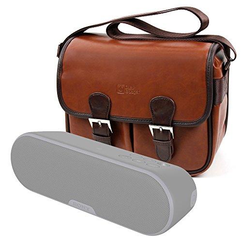 DURAGADGET Bolsa Profesional marrón con Compartimentos para Altavoz Portátil Sony SRS-ZR5, SRS-XB2B...