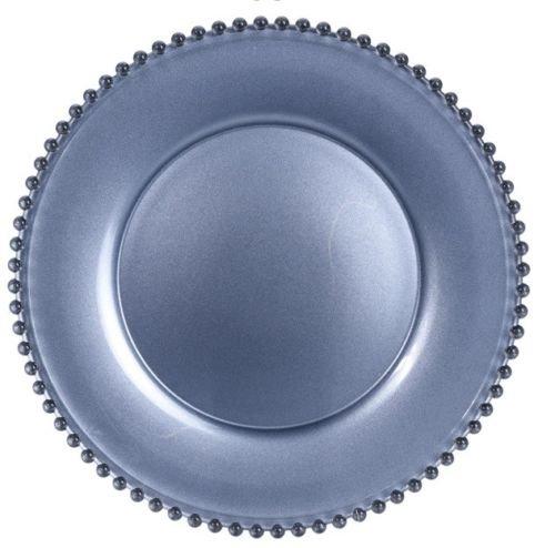 Assiette de service en verre sans plomb avec cristal Argenté 34 cm
