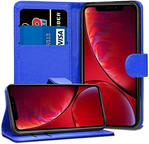 RASH Accessories - Custodia a Portafoglio in Pelle per Apple iPhone 6 7 8 5S SE Plus XS Max, Blue, iPhone 8/Plus
