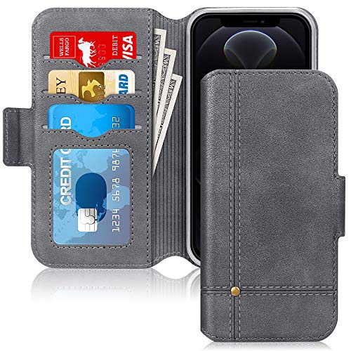Skycase Compatible for iPhone 12 Case/Compatible for iPhone 12 Pro Case 5G,Ultra Slim Handmade Flip Folio Wallet Case with Card Slots and Kickstand for iPhone 12/12 Pro 6.1 inch 2020,Grey