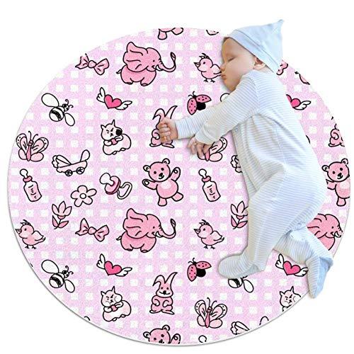 chuangxin bieren en konijnen ronde baby spel mat kruipen mat slaapkussen zitkussen anti-slip mat voor kinderen kinderen peuters slaapkamer,27.6x27.6IN