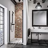 Schulte porte de douche pivotante, paroi en niche Black Style, verre transparent,...